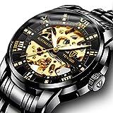 Men's Watch Black Luxury Mechanical Stainless Steel Skeleton...