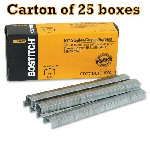 Carton of 25 boxes Stanley Bostitch B8 PowerCrown Premium 1/4 Staples (STCRP21151/4)