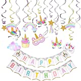 Unicorn Hanging Swirl Party Decorations 30PCS Happy Birthday Banner-Unicorn Party Favors Supplies for Girls Room Birthday Party DessertTable