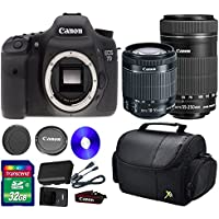Deluxe Kit For 7D DSLR Camera +18-55mm IS STM Lens +EF-S 55-250mm f/4-5.6 IS STM Lens + 32 GB SDHC Memory Card + Front Lens Cap + Rear Lens Cap + Strap + Camera Case