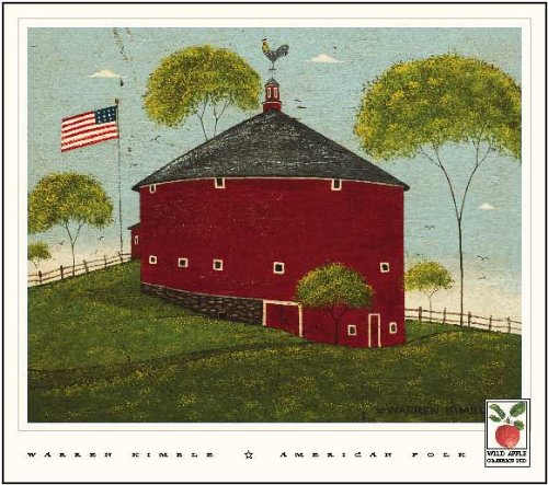 - Round Barn by Warren Kimble. Size 16.00 X 20.00 Art Poster Print