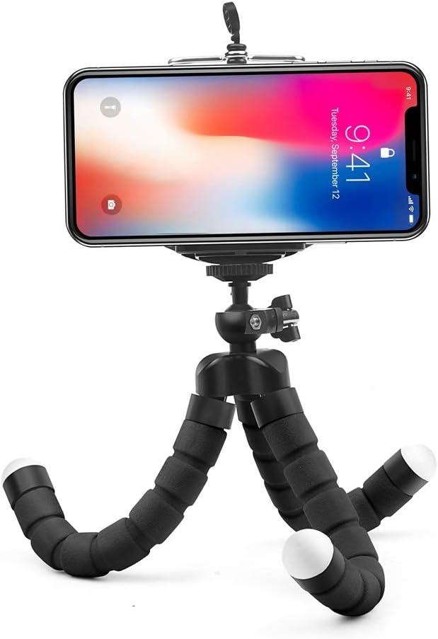 XIAOFANG Mini Flexible Esponja Pulpo trípode for el iPhone Samsung Xiaomi Huawei teléfono móvil Smartphone trípode for GoPro 8 7 5 Cámara (Color : Black Tripod Set)