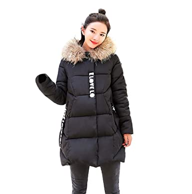TUDUZ New Women s Quilted Winter Down Coat Ladies Thicker Cotton Padded Parka  Puffer Fur Collar Hooded 6243b03680