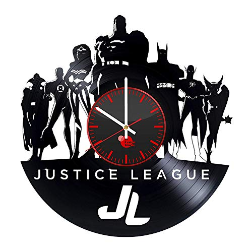 Home & Crafts Justice League Vinyl Record Wall Clock Superhero Superman Batman Green Lantern Wonder Woman Flash Aquaman Decor Unique Gift Ideas for Friends him her Boys Girls World Art Design -