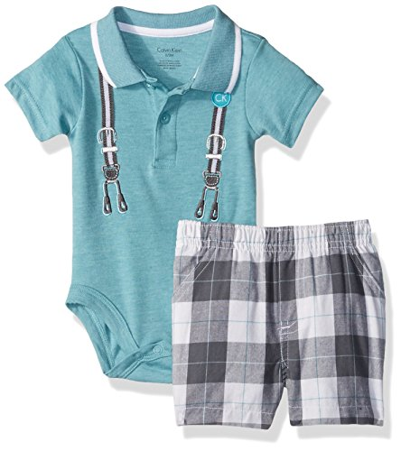Calvin Klein Baby Boys' 2 Pieces Short Set-Screen Print, Aqua, 24M Cotton Screen Print Shorts