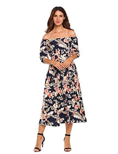 7de438d04acc Meaneor Damen Trägerlose Kleider Blumen 3 4 Ärmel Split Maxikleider  Strandkleider mit Gürtel Sommer Herbst