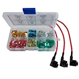 ZAOJIAO 120PCs Auto Car ATM Micro Mini Blade Assorted Fuse + 3pcs Add-a-circuit TAP Adapter Micro Mini Blade Fuse Holder