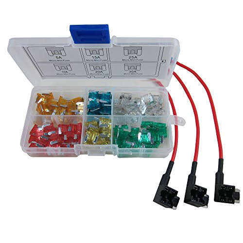 ZAOJIAO 120PCs Auto Car ATM Micro Mini Blade Assorted Fuse + 3pcs Add-a-circuit TAP Adapter Micro Mini Blade Fuse Holder