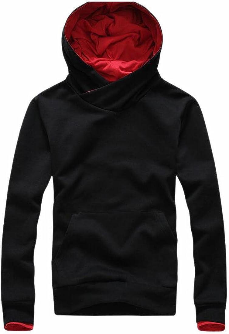 HTOOHTOOH Mens Pullover Vogue Turtle Neck Hooded Top Sweatshirts