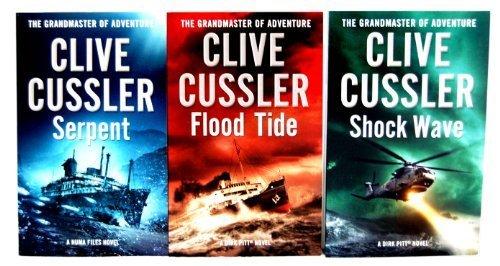Clive Cussler 3 books Collection Set (Shockwave, Serpent, Flood Tide)