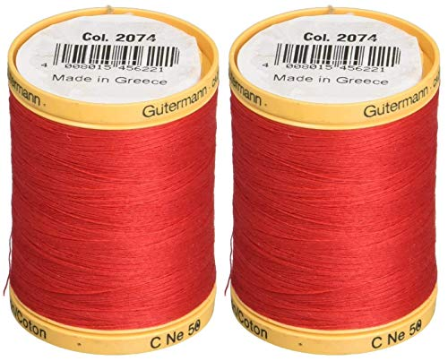 2-Pack - Gutermann Natural Cotton Thread Solids 876 Yards Each - Red