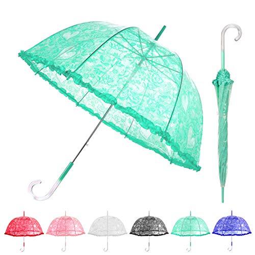 MISSYO Stick Clear Umbrella Lace Crystal Handle Transparent Bubble Dome Shape Princess Rain Umbrella for Outdoor Weddings Events