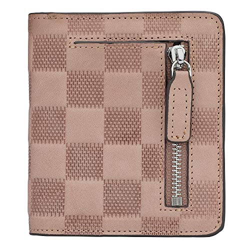 RFID Blocking Wallet Women's Small Compact Bifold Leather Purse Front Pocket Mini Wallet (Checkered Light Pink)