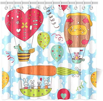 Heart Balloons flower Colorful Fun Polyester Shower Curtain Bathroom Waterproof