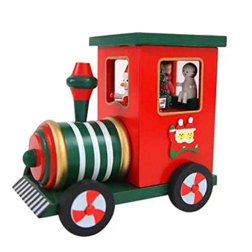 Carousel Hinged - Music Box,Hunzed Christmas Music Box Locomotive Snow car Music Box Indoor Decoration (A)