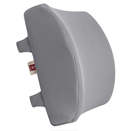 LoveHome Memory Foam Lumbar Support Back Cushion with 3D Mesh Cover Balanced Firmness for Lower Back Pain Relief - Ideal Back Pillow for Office Chair and Car Seat - Gray ()