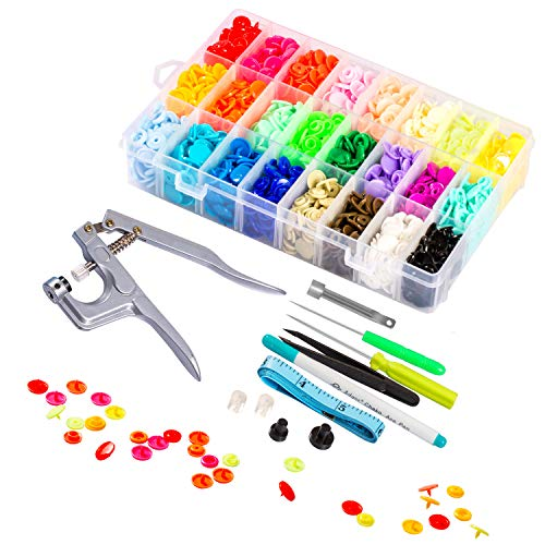 Lynda Snaps and Snap Pliers Set, 360 Sets T5 Plastic Buttons for Sewing and Crafting