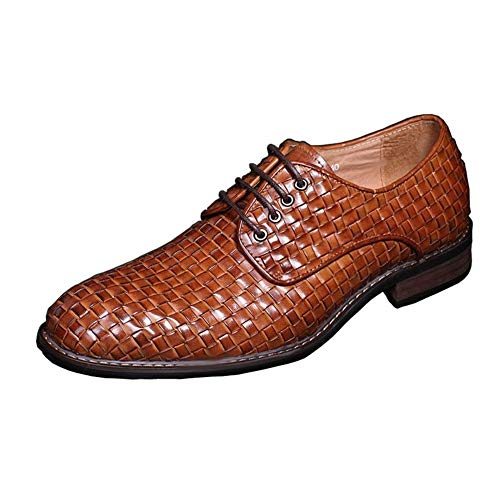 Rui Landed Oxford for Men Formal Shoes Lace Up Style Genuine Leather Hollow Breathable Exquisite Hand-Woven Business Casual (Color : Yellow, Size : 11 M US)