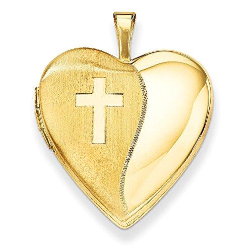 14K Yellow Gold 20mm Polished Satin w/Cross Heart Locket