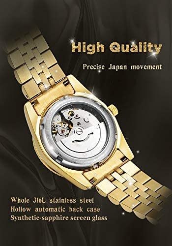 BRIGADA Swiss Brand Nice Classic Luxury Gold Hollow Mechanical Automatic Men Watch