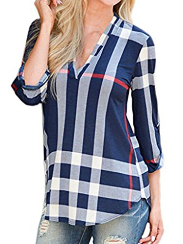 Elevesee Women's Casual 2/3 Sleeve V-Neck Plaid shirts Pullover Top Blue X-Large Shirts And Tops