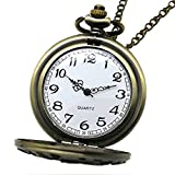 Powshop Vintage Stainless Quartz Pocket Watch with 14.8'' Chain Classic Sculptured Fob Pocket Watch