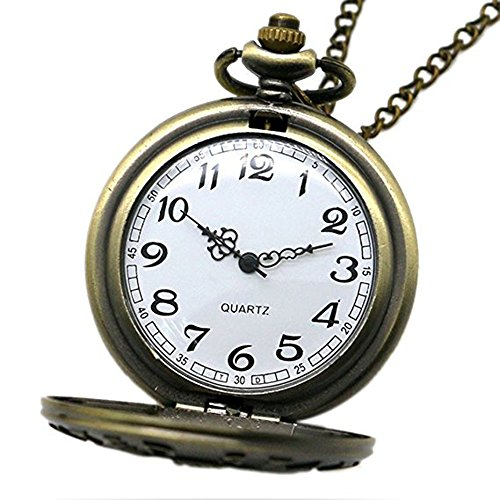 Powshop Vintage Stainless Quartz Pocket Watch with 14.8 Chain Classic Sculptured Fob Pocket Watch