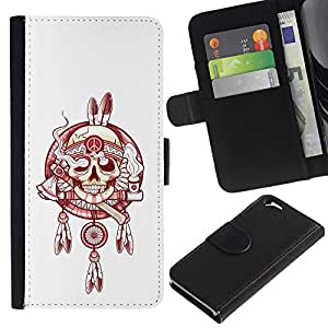 iBinBang / Flip Funda de Cuero Case Cover - Indian Chief Peace Smoke White Red - Apple Iphone 6 4.7