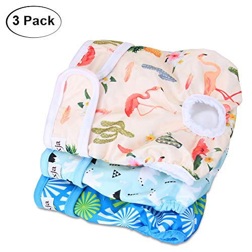 LUXJA Reusable Female Dog Diapers (Pack of 3), Washable Wraps for Female Dog (Large, Flamingos+Polar Bears+Flowers)