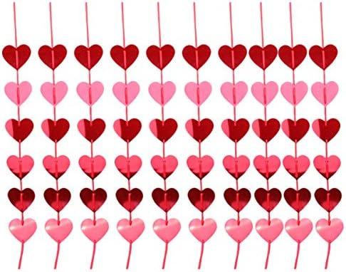 NUOBESTY 12ピースハートガーランドグリッターバナーホオジロバレンタインデー婚約パーティーブライダルシャワー結婚式ベビーシャワー誕生日パーティー