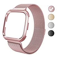 VEAQEE Fitbit Versa Bands Frame, Milanese Mesh Loop Stainless Steel Metal Replacement Wristband Bracelet Strap Magnetic Buckle Protective Case Bumper