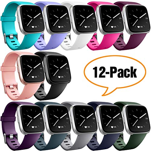 Hamile Replacement Bands Compatible for Fitbit Versa, Classic Soft Watch Band Straps Wristbands for Fitbit Versa Smartwatch,for Women Men,Twelve Colors,Small
