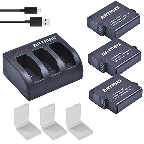 Batmax GoPro Hero 5/6 Replacement Batteries  and 3-Channel L