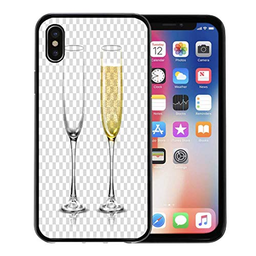 Emvency Phone Case for Apple iPhone Xs Case/iPhone X Case,Yellow Flute Realistic of Champagne Glasses Sparkling White Wine Soft Rubber Border Decorative, Black