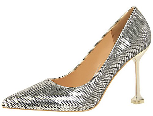 VogueZone009 Women's Sequins High-Heels Pointed Toe Solid Pull-On Pumps-Shoes Silver tJ0xb8L