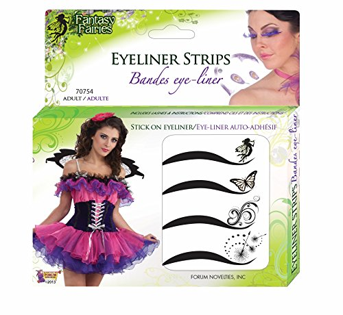 Forum Novelties Women's Adhesive Eyeliner Strips Kit, Multi, One Size ()