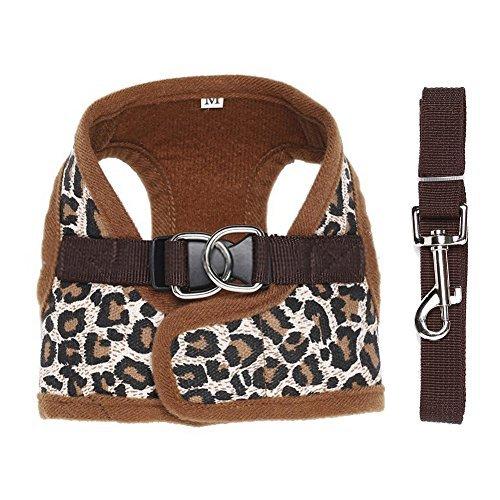 Contever® Verstellbar Rückseite Clip Harness Hundegeschirr Welpengeschirr Softgeschirr Brustgeschirr Halsbänder mit Leine (M: Brustumfang 31-34cm)-Leopard