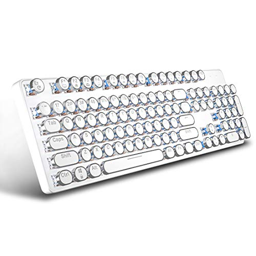 Retro Vintage Mechanical Typewriter with White LED Backlit Keyboard: Metal Base and Chrome Keycaps Anti Ghosting