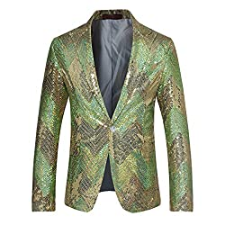 Mens Sequin One Button Blazer