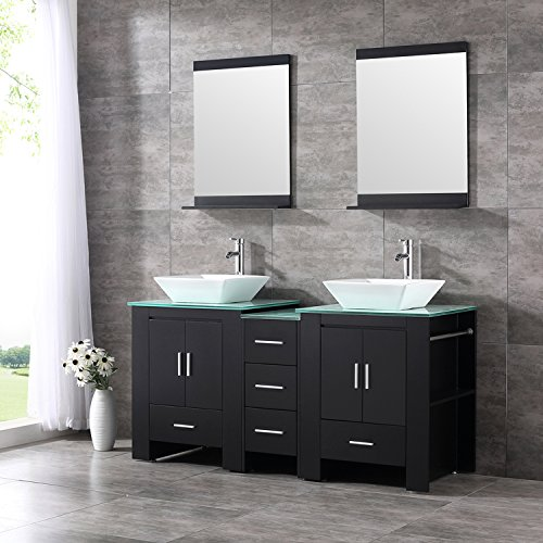 60inch Double Bathroom Vanity and Sink Combo MDF Wood Cabinet Ceramic Vessel Sink (Black:Design1) by Sliverylake