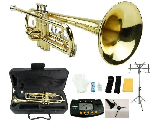 Merano B Flat Gold Trumpet with Case+Mouth Piece+Valve Oil+Metro Tuner+Black Music Stand+Trumpet Stand by Merano