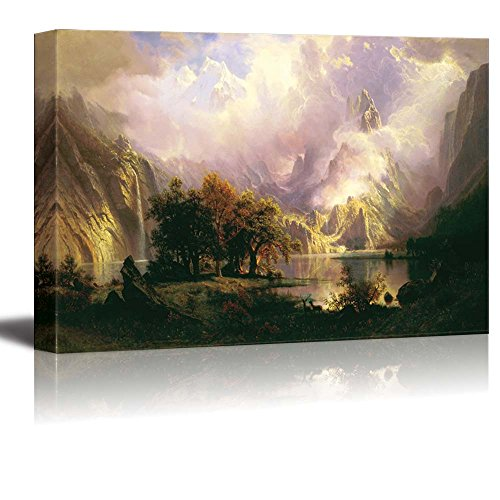Wood Painting Fp (wall26 Canvas Wall Art - Rocky Mountain Landscape - Gallery Wrap Modern Home Decor | Ready to Hang - 16