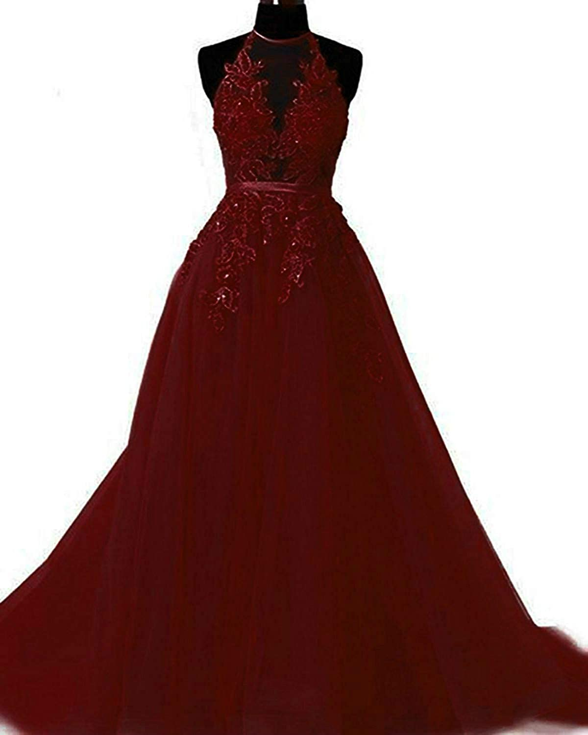 Burgundy Liaoye Women's Halter Lace Prom Dresses Long Formal Party Gown 2019 Backless Evening Dress for Weddings