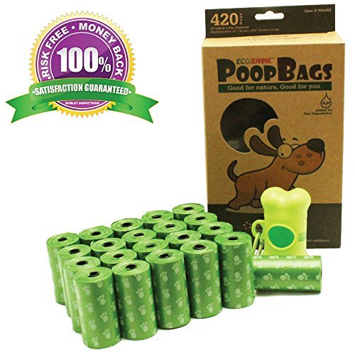 EcoJeannie Top Rated 420-Count (21 Rolls) Dog Poop Bags+1 Dispenser w/Stainless Steel Clip :Environment Friendly w/d2w for Fast Degradation,Dog Waste Bags,Lavender Scented,Pet Waste Poopbags(PB0002)