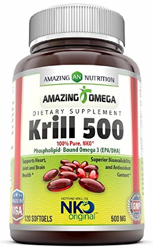 Amazing Omega Nko® Neptune Krill Oil - 500 Mg, 120 Softgels - Supports heart, joint & brain health and superior bioavailability & antioxidant content - Nko Krill Oil
