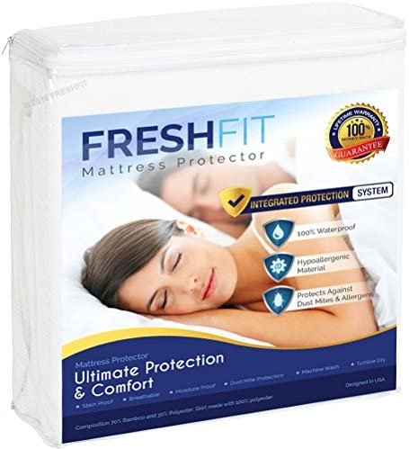 picture of FRESHFIT Waterproof Mattress Protector. Comfortable Hypoallergenic Protection- Vinyl Free.King