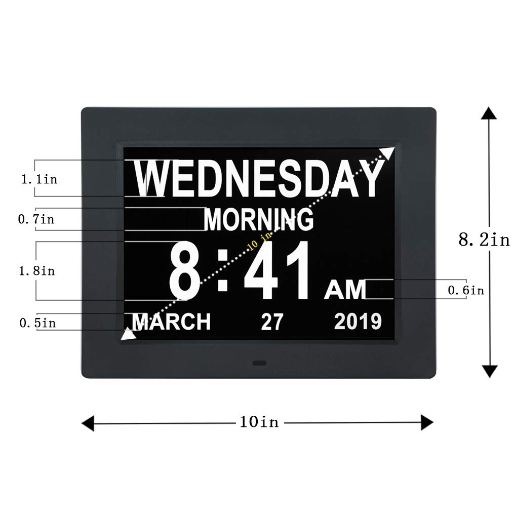 [Newest Version] 10 INCH Digital Calendar Day Clocks Extra Large Non-Abbreviated Day&Month with 5 Alarm Options,Perfect for Seniors + Impaired Vision ...