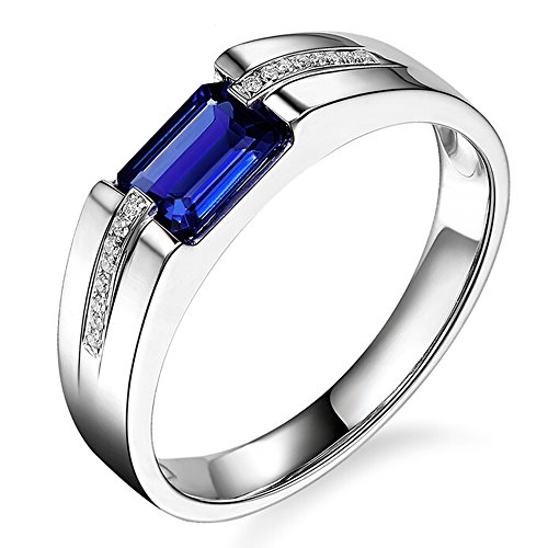 Luxury Men's Genuine Natural Tanzanite Diamond Solid 14K White Gold Diamond Wedding Engagement Fashion Band Ring Set by Kardy
