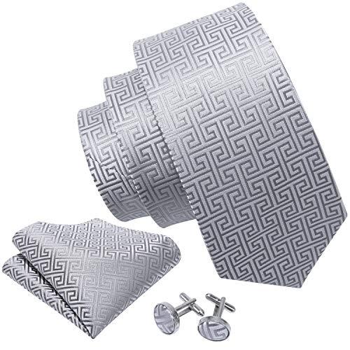 Pattern Cufflinks Silver - Barry.Wang Retro Silver Geometric Pattern Tie Set