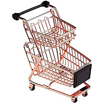 Blancho Bedding Mini Double Decker Shopping Cart Toy Supermarket Handcart, Desktop Storage, Rose Gold #27